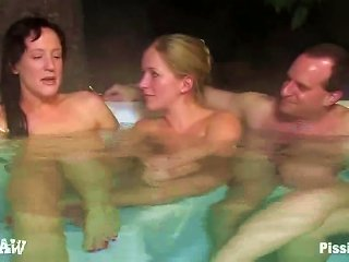 Naked Girls Get Naked On A Winter Day And Piss On Each Other